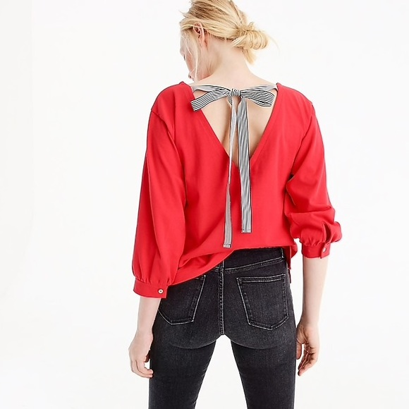 e9a5c8b90fae1 J. Crew Tops - J. CREW - Red Tie Back Medium Top